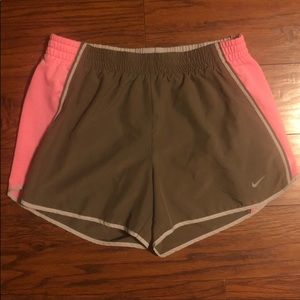 Nike Clay Brown and Pink Dri Fit Running Shorts